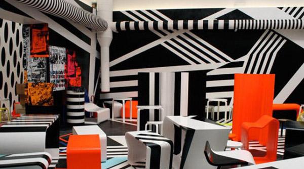 设计师分享黑白构成艺术的自助餐厅案例