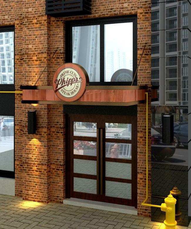 西餐厅设计:外立面门头设计效果图