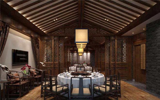 中式风格餐饮室内设计效果图