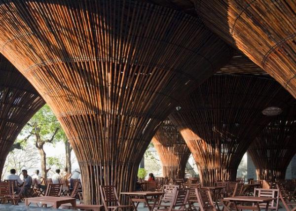 """以""""竹筐""""灵感设计的""""竹伞""""咖啡厅"""
